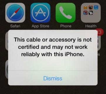 Ce câble ou accessoire n'est pas certifié: Iphonix.fr