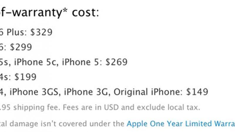 Les réparations hors garantie des iPhone 6 et 6 Plus coûtent jusqu'à 299 € / 329 €